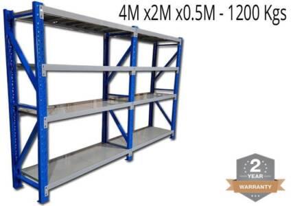 4.0M x 2.0M x 0.5M Heavy Duty Metal Garage Shelving 1200KG