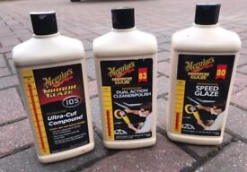 Meguiars car polish, ultra cut compound, speed glaze all mostly full detailing kit