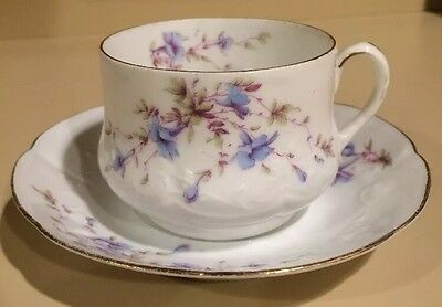 Carlsbad China Blue Floral with Gold Trim Tea Cup And Saucer