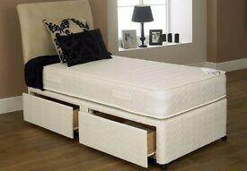 BRAND NEW SINGLE DIVAN BED WITH ROYAL WHITE ORTHOPEDIC MATTRESS== SAME DAY EXPRESS DELIVERY