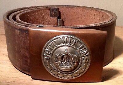 Franco-Prussian War-WW1, Enlisted Mans Copper Buckle & Belt, Kingdom of Prussia