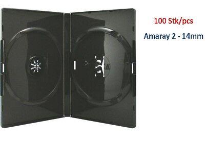 Amaray DVD Hülle, Hüllen schwarz 2 Disc 14 mm - 100 Stück