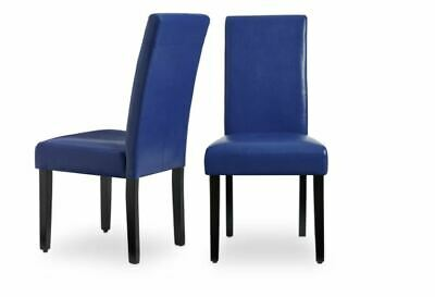 NEW Faux Leather Blue Kitchen Dining Chairs Set of 2 Bar Table Durable Cheap