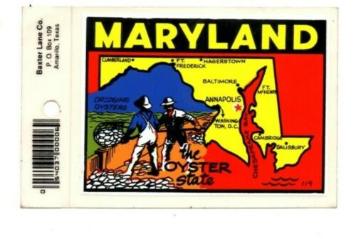 Vintage Maryland The Oyster State Souvenir Decals Stickers - New - Free S&H