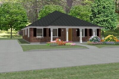 Custom House Home Building Plans 3 bed Ranch 1748 sf---PDF FULL PERMIT SET