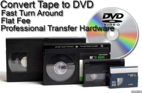 Transfer Convert VHS VHS-C Hi8 Hi 8 MiniDV DV Video Tape to DVD *Flat Rate*