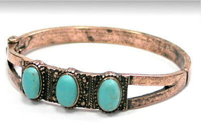 Burnished Copper 3 Genuine Howlite Oval Stone Turquoise Cuff Bangle Bracelet