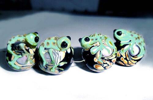 Handmade Lampwork Glass Beads Green Frog 18 mm x 20 mm 4 Beads (#frog)