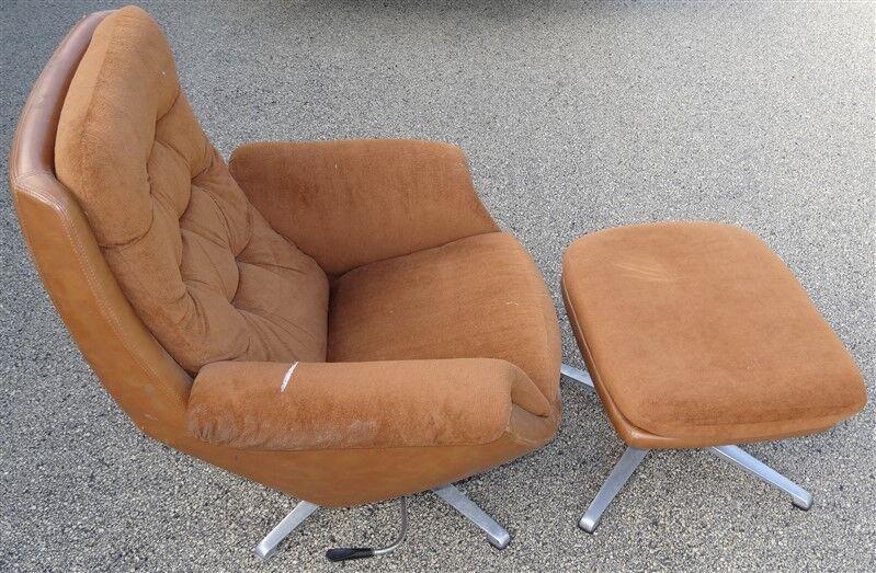 MCM Mid Century Danish Modern Orange Overman Chair & Ottoman * AS IS
