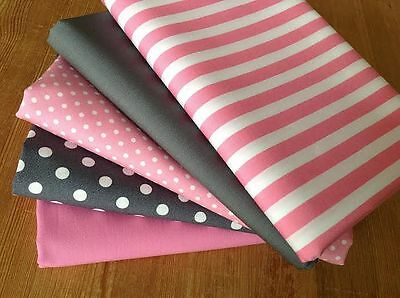Blenders fabric CHARCOAL GREY & CANDY PINK Fat Quarter Bundle 100% cotton