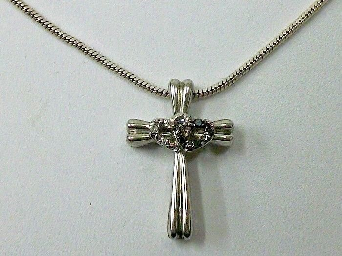 Sterling Silver Cross Pendant Sapphire Diamond Hearts On 20 Snake Chain - $49.99