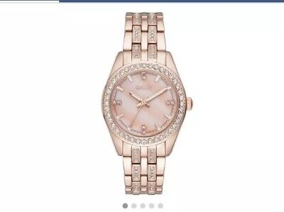 Relic Glitz By Fossil Ladies Queens Crystal Watch ZR12163 Rose Tone