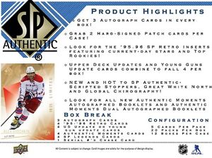 2015-16 Upper Deck SP Authentic Hockey Cards Hobby Box Kitchener / Waterloo Kitchener Area image 2