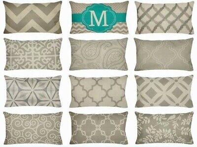 """12x20"""" Gray Linen Decorative Throw PILLOW COVER Sofa Couch Vintage Cushion Case"""