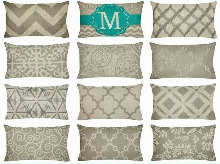 """12x20"""" Gray Linen Decorative Throw PILLOW COVER Sofa Couch V"""