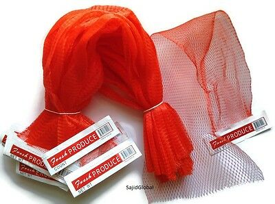 100 Pcs 25 Red Reusable Nylon Poly Mesh Produce Net Grocery Bag Wpaper Tab