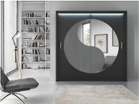 2 DOOR MIRRORED SLIDING WARDROBE IN MANY COLOURS FOR YOUR BEDROOM
