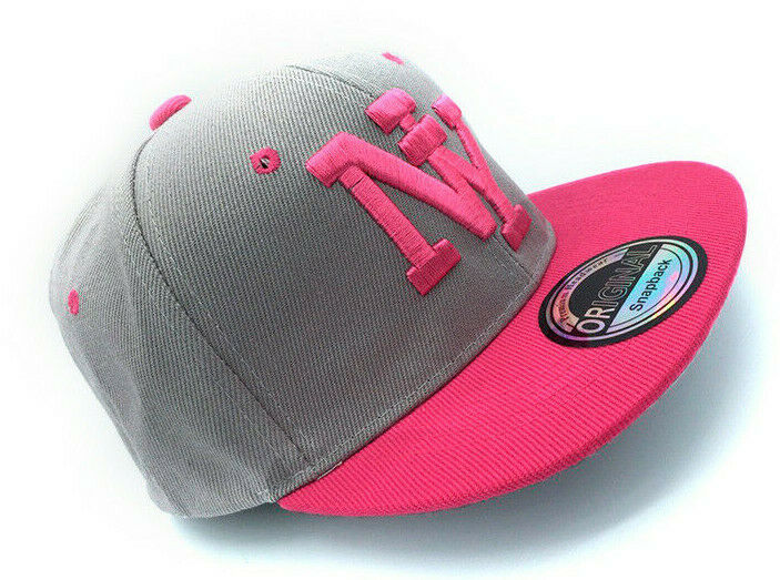 Snapback Kappe Cappy Sommer NY New York Cap Mütze Sonne Damen Grau Pink 54-62cm