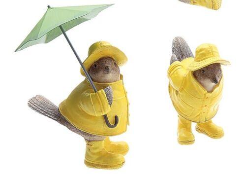 Creative Co-Op Resin Bird Figurines Sparrows in Raincoat 1 w/Umbrella Set of 2 S