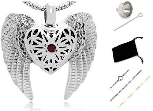 Memorial Cremation Jewelry,Pendant,Funeral Urn,Keepsake ash,Angel Wing Silver