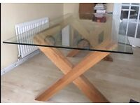 Oak Next glass dining table