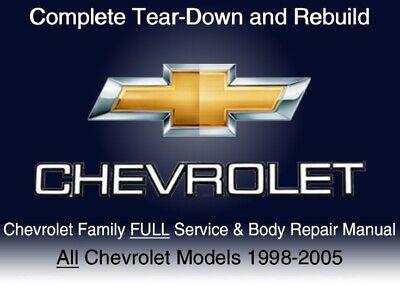 Chevrolet Family 1998-2005 Custom FULL Service Repair Shop Manual DvD Software