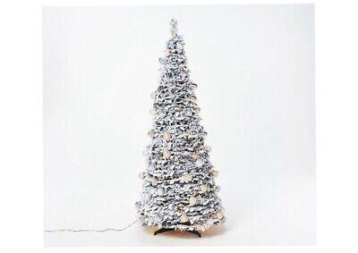 Barbara King 6' Flocked Pre-Lit Pop-Up Tree Christmas QVC Holiday Home Decor