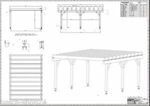bauplan anleitung flachdach carport terrassendach wintergarten berdachung v2 ebay. Black Bedroom Furniture Sets. Home Design Ideas