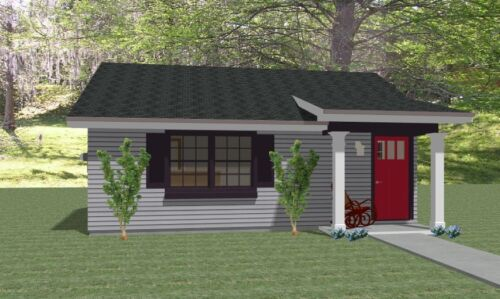 Custom Tiny House Home Building Plans 1 bed Cottage 575 sf-- PDF file