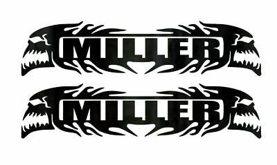 2 Miller Custom Vinyl Decals - 5.75in Welding Hard Hat Helmet Lunch Box