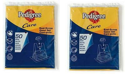 Dog Poo Bags x2 Refill 50pc Poop Scoop Bags Black Ties PEDIGREE Care Easi Scoop