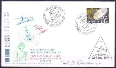 Switzerland 1973 cover, Astronomer Copernicus on Pictorial Cancellation, Signa