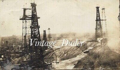 Vintage Oil Well Derricks Photos Refinery Field Shops Huntington Beach Ca 1920s