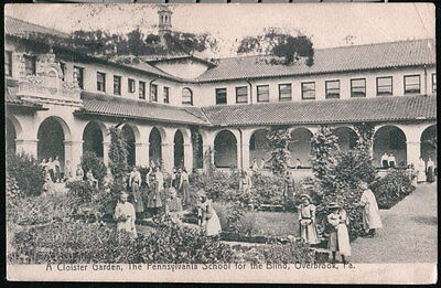 OVERBROOK PA Pennsylvania School For The Blind Students Garden Antique Postcard