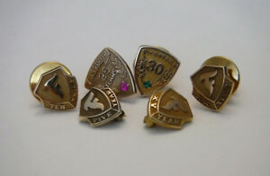 FIRESTONE SERVICE AWARD PINS YEARS 5 TO 35  GOLD  & GOLD FILLED
