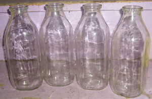4 old Antique Milk Bottles Home Country Decor