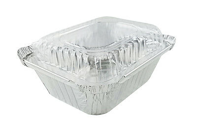 1 Lb. Oblong Foil Pans Wclear Dome Lids 25 Sets - Aluminum Take-out Containers