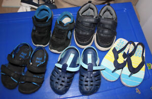 5 pairs sneakers, sandals, toddler size 7 and 8, $ 10 for all