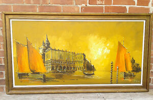 Mid Century Modern Oil on Board Painting, Framed