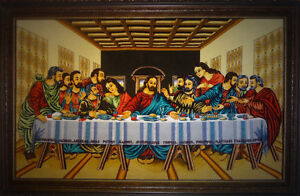 Last supper pictorial rug (silk and wool - Handwoven)