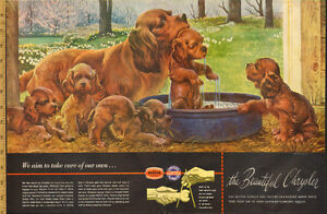 Extra Large1948 ad for Chrysler Mopar Parts with cocker spaniels