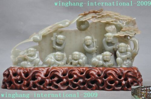 old Chinese 100% natural Hetian jade carving pine Crane fan Scripture boy statue