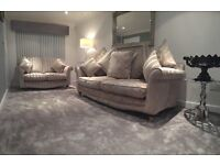 ScS Vienna 2 piece suite sofa 3 seater & 4 seater stripe & floral Rrp £2200