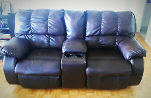 Leather Recliner and Sofa Set - Dark Brown. $900 obo