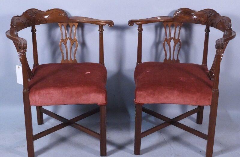 Matching Pair of Antique Georgian-Style Corner Chairs