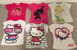 Toddlers sz 4 T-shirts Nickolodean, Hello Kitty, Disney (6)