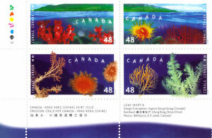 Canada Stamps - Corals 46c - Canada-Hong Kong (China) Joint Issu West Island Greater Montréal image 1