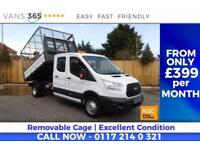 Ford Transit 29K MILES CAGED ONE STOP D/C ALLOY TIPPER 125BHP 6 SPEED FULL SERVI