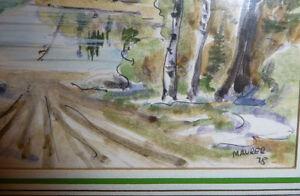 """Kurt Maurer """"Laurentian Spring"""" 1978 Original Vintage Watercolor Stratford Kitchener Area image 3"""