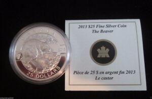 2013 Beaver $25 Canada Proof 0.9999 Silver Coin with COA